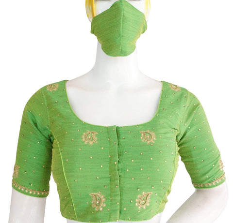 Green Color Bridal Aari work Designer Readymade Blouse