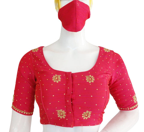 Pink Color Bridal Aari work Designer Readymade Blouse
