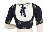 Navy Blue Color Bridal Handwork Readymade Saree Blouse
