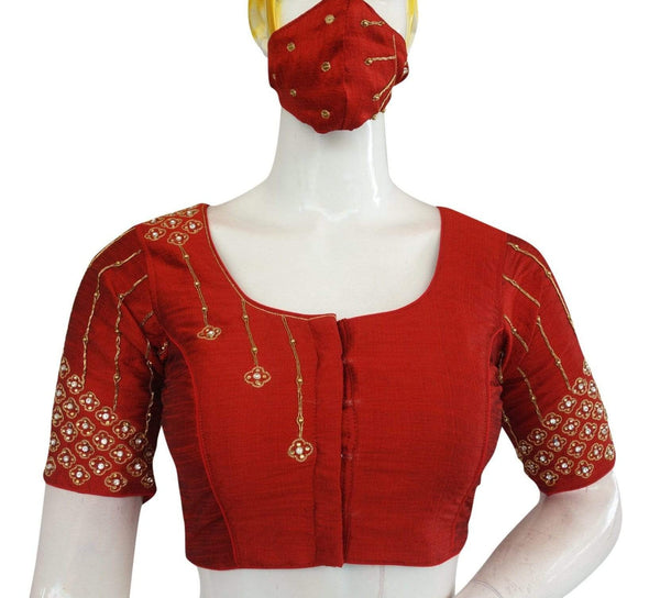 Maroon Color Bridal Handwork Readymade Saree Blouse with Matching Mask