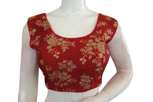 Maroon Color Designer Embroidered Readymade saree blouse