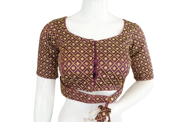 Party Wear Embroidery Readymade saree blouse With Attached Belt, Indian Readymade blouse