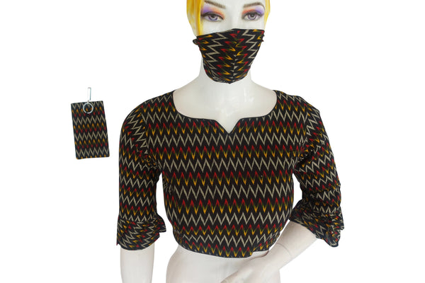 Cotton Printed Designer Readymade Blouse with Matching Mask