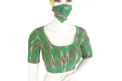 Green color Ikkat Readymade Saree Blouse with Matching Mask