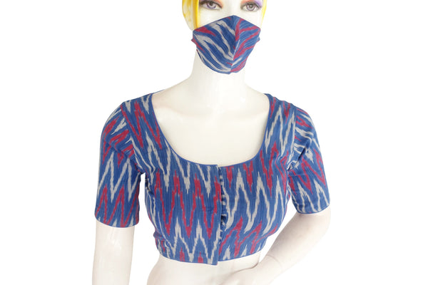Ikkat Readymade Saree Blouse with Matching Mask