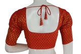 Red Color Brocade Silk Readymade Blouse with Puff Sleeve