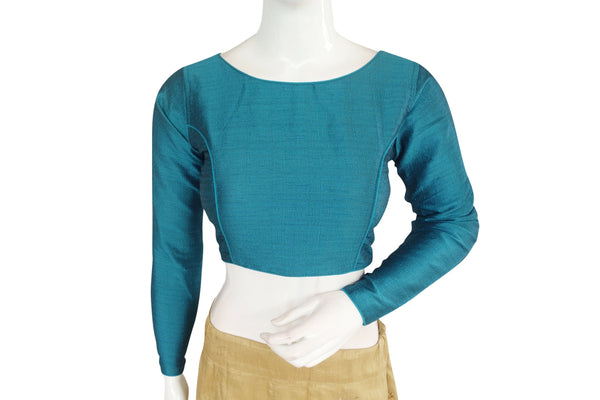Teal color Plain Silk Designer Readymade Blouse with Full Sleeve