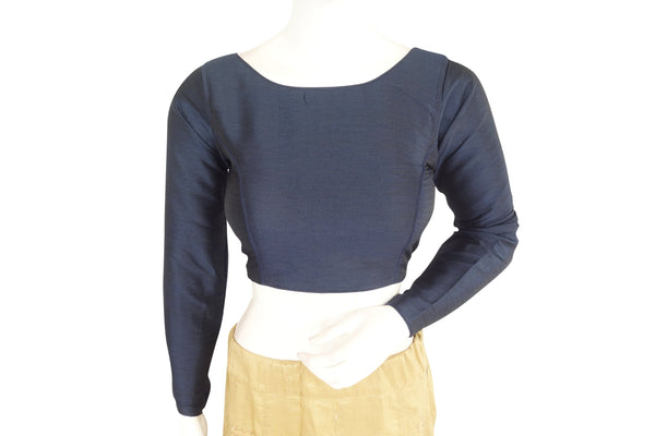Navy Blue color Plain Silk Designer Readymade Blouse with Full Sleeve