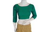 Green color Plain Silk Designer Readymade Blouse with Bracelet sleeve
