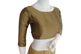 Gold color Plain Silk Designer Readymade Blouse with Bracelet Sleeve