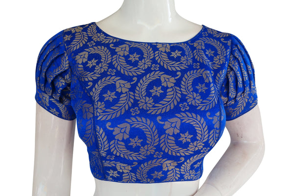 Brocade Silk Boat Neck Readymade Blouse with Puff sleeve