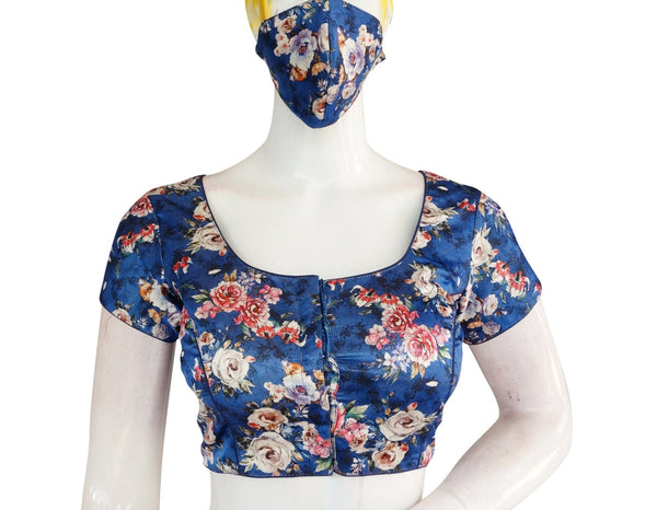 Satin Silk Digital Print Readymade Blouse with Matching Mask