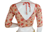 Printed Silk V-neck Designer Readymade Blouse