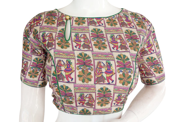 Printed Silk Boat neck Designer Readymade Blouse