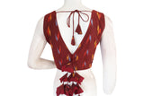 Maroon color Ikkat V-neck Designer Readymade Blouse with Tassels