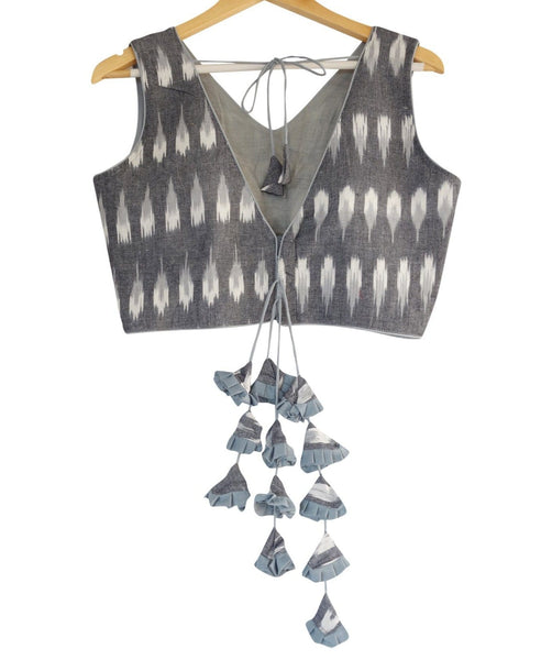 Grey color Ikkat V-neck Designer Readymade Blouse with Tassels