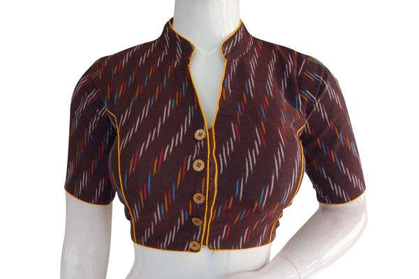Maroon Color Ikkat Collar Designer Readymade Blouse