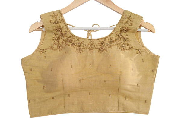 Golden Tissue Floral Designer Beads Handwork Readymade Saree Blouse, Indian Readymade blouse, crop top
