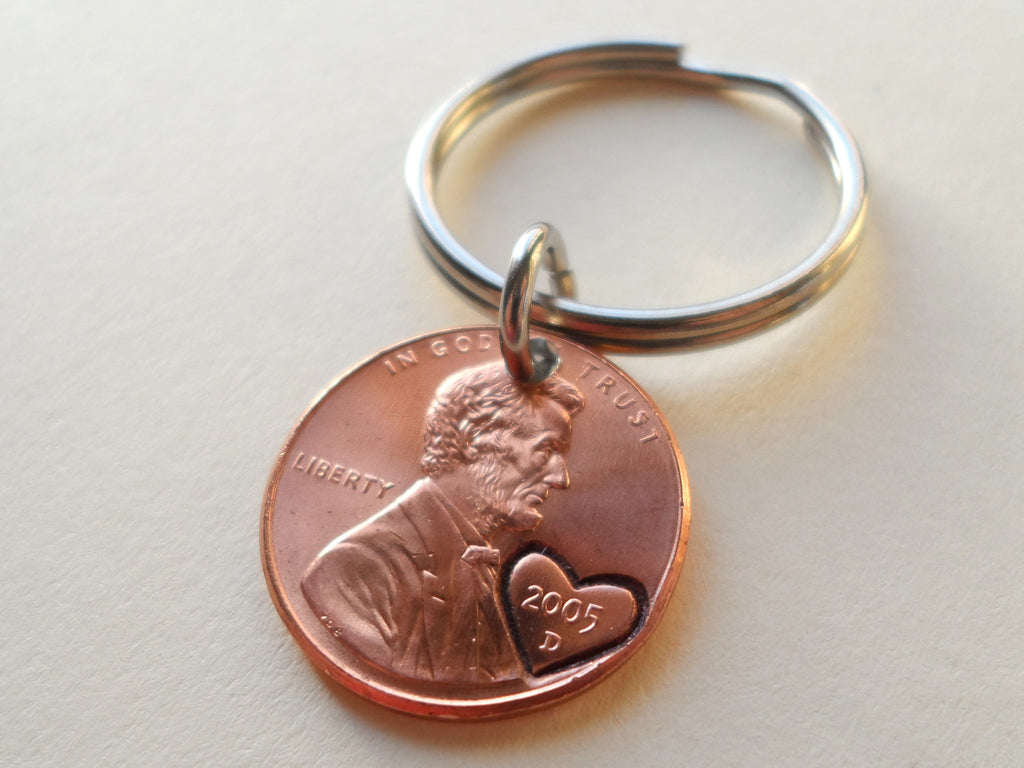 2005 Penny Keychain with Engraved Heart Around Year; 15 Year Anniversary Gift, Couples Keychain