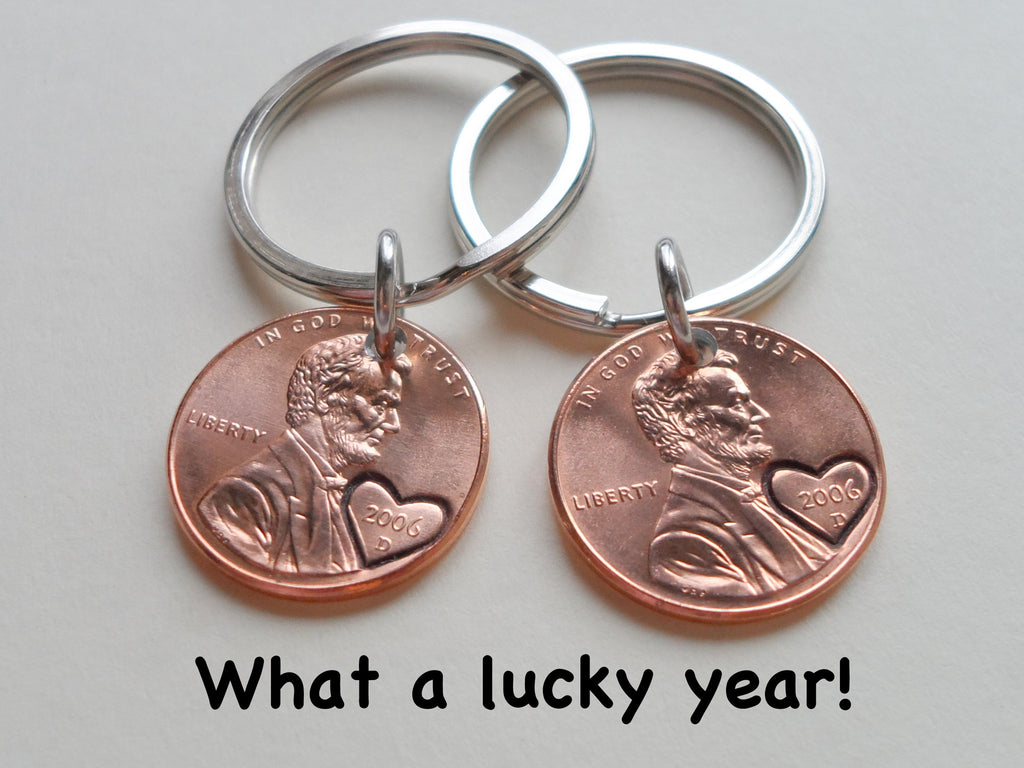 14 Year Anniversary Gift • Double Keychain Set 2006 Penny Keychains w/ Engraved Heart Around Year by Jewelry Everyday