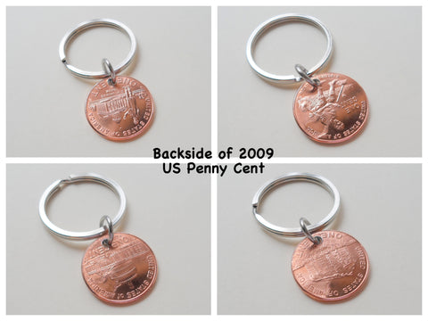 "Steel Disc Hand Stamped with ""Lucky Us"" with 2009 Penny Layered Keychain with Heart Around Year; 12 Year Anniversary Gift, Couples Keychain"