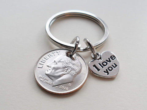 10 Year Anniversary Gift • 2011 Dime Keychain w/ I love You Charm by Jewelry Everyday, Custom Options