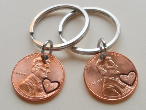 8 Year Anniversary Gift | Double Keychain Set 2011 Penny Keychains w/ Heart Around Year & Engraved by Jewelry Everyday