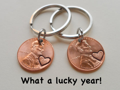 10 Year Anniversary Gift | Double Keychain Set 2011 Penny Keychains w/ Heart Around Year & Engraved by Jewelry Everyday