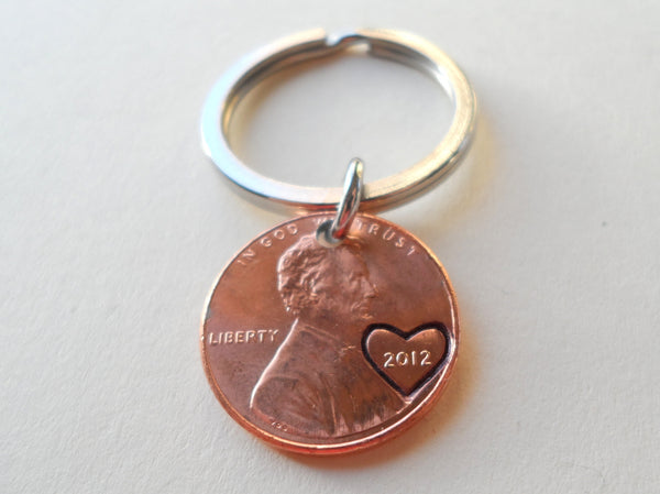 2012 Penny Keychain w/ Engraved Heart Around Year • 8-year Anniversary Gift from JE