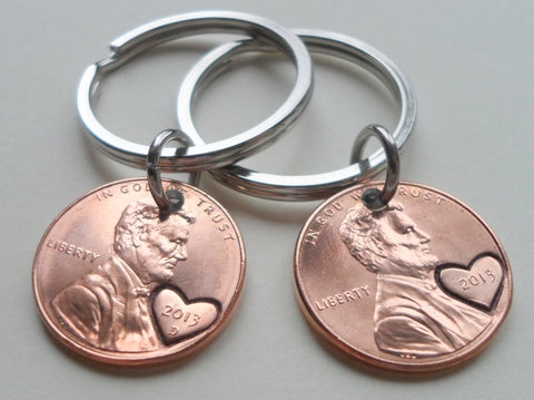 Double Keychain Set 2013 Penny Keychains with Engraved Heart Around Year; 7 Year Anniversary Gift, Couples Keychain