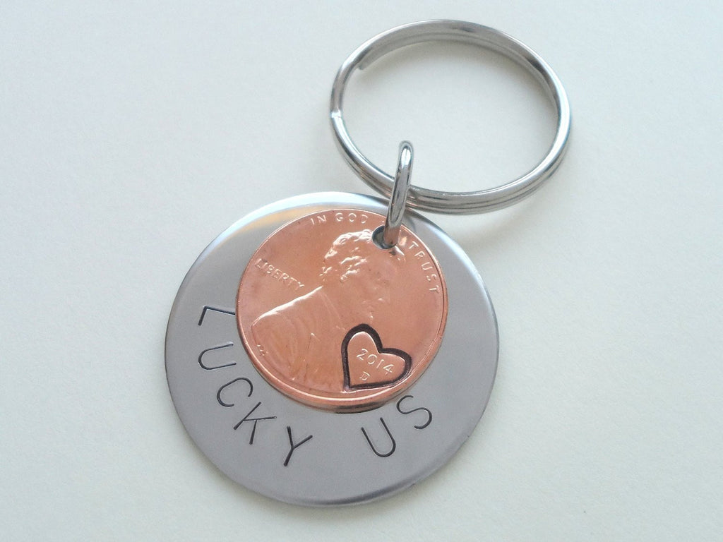 "Steel Disc & 2014 Penny Keychain Hand Stamped ""Lucky Us""; 6 Year Anniversary Gift, Couples Keychain"