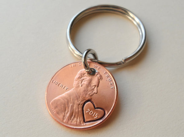 2015 Penny Keychain with Heart Around Year; 2 Year Anniversary Hand Stamped Couples Keychain