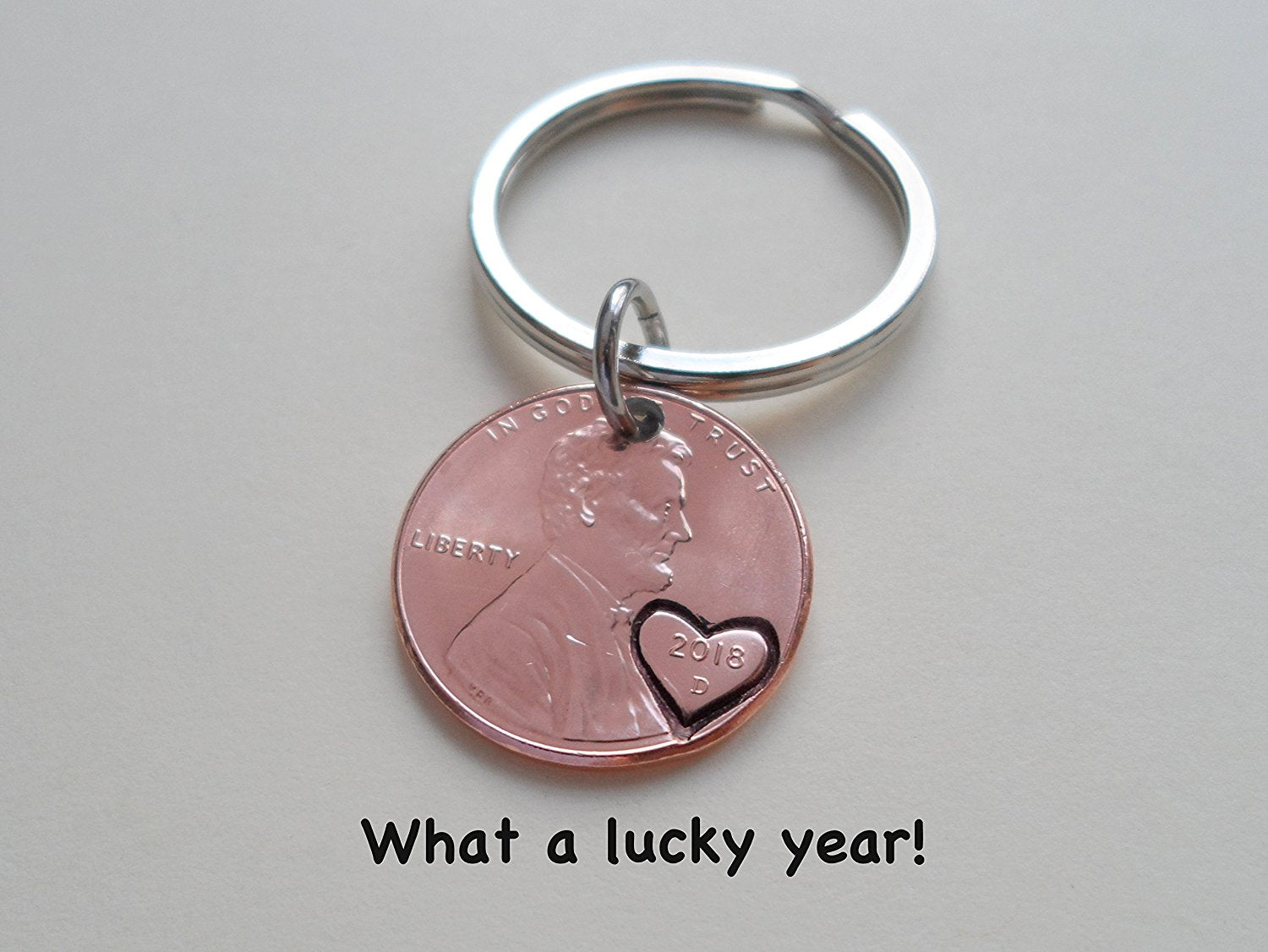 Anniversary Gift 2018 Penny Keychain W Heart Around Year