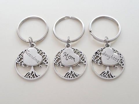 3 Generations Keychains, Grandma Tree Keychain, Mom Tree Keychain, Daughter Tree Keychain