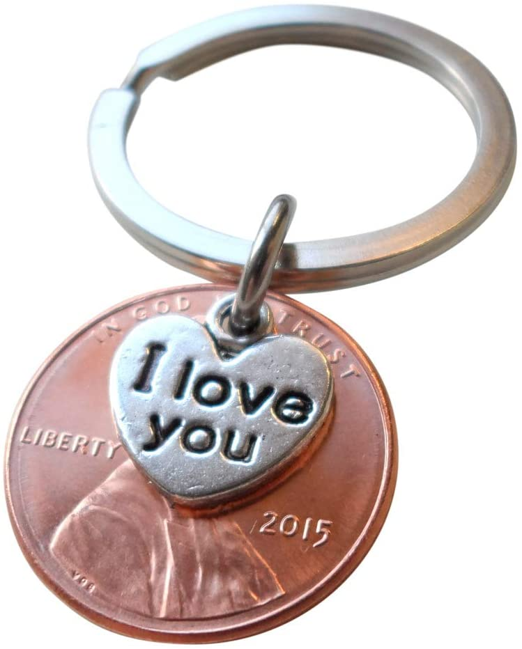 "2015 Penny Keychain • 6-year Anniversary Gift w/ ""I Love You"" Heart Charm from JE"