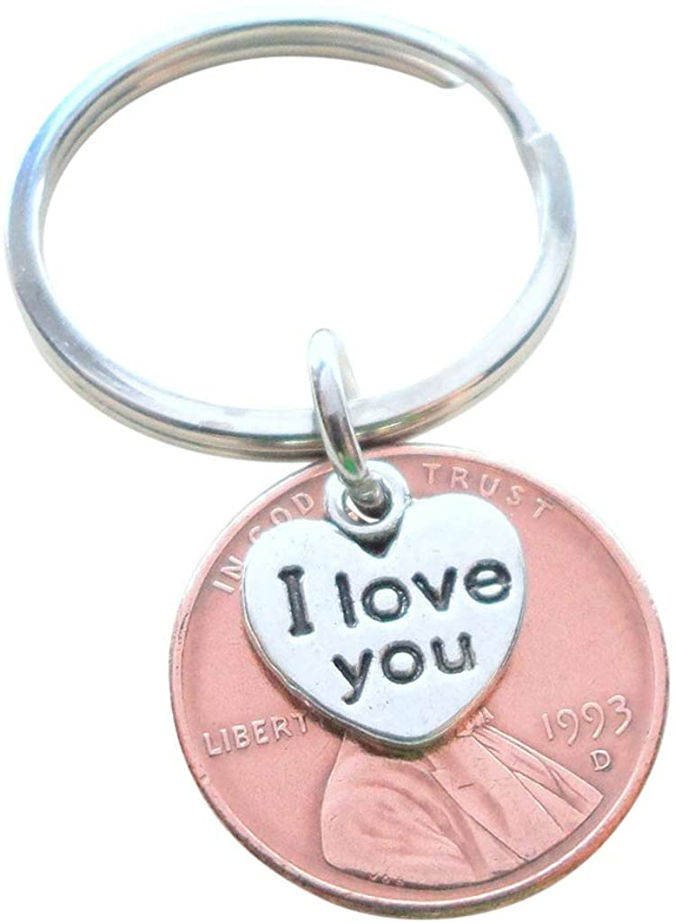 I Love You Heart Charm Layered Over 1993 Penny Keychain; 27 Year Anniversary Gift, Couples Keychain
