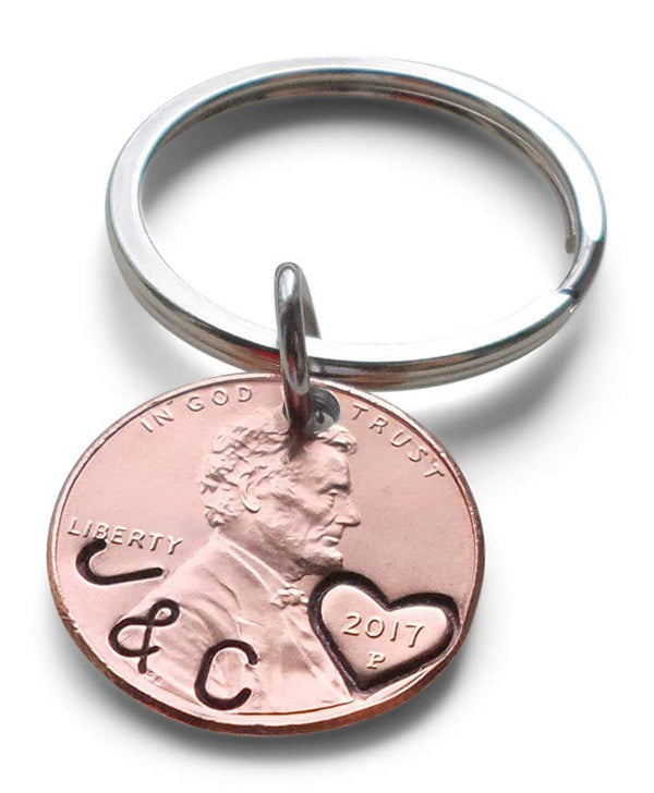 Anniversary Gift • Personalized Penny Keychain Stamped w/ Initials Along Edge & Heart Around the Year by Jewelry Everyday