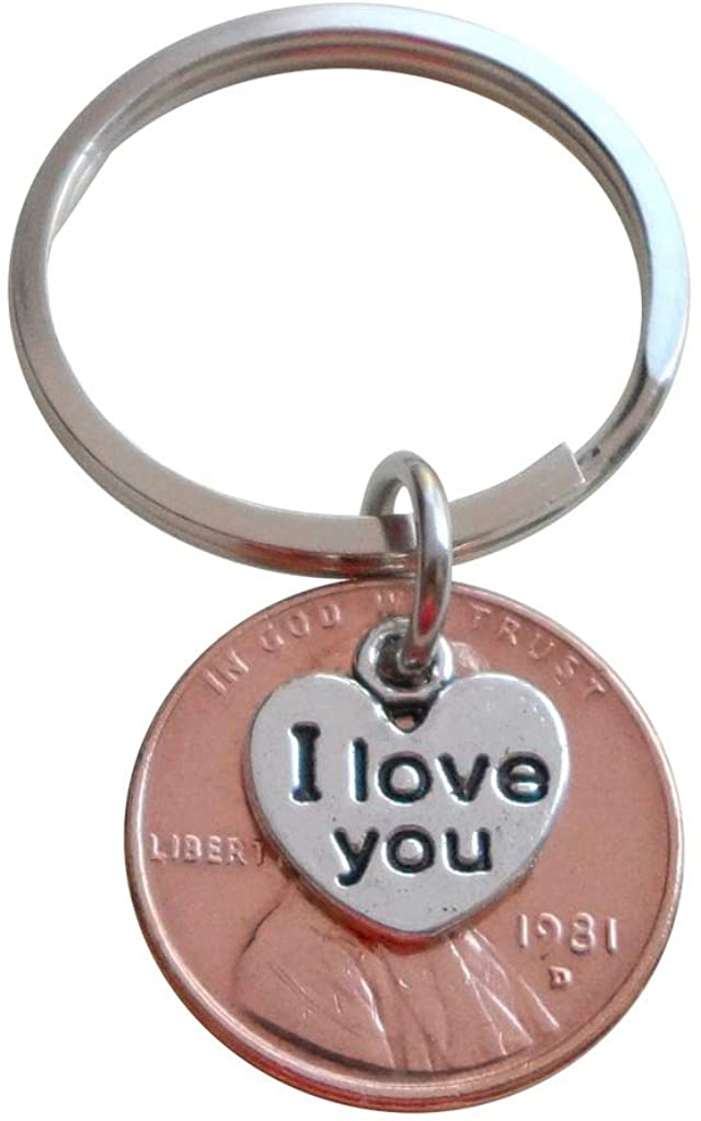 I Love You Heart Charm Layered Over 1981 Penny Keychain; 40 Year Anniversary Gift, Couples Keychain