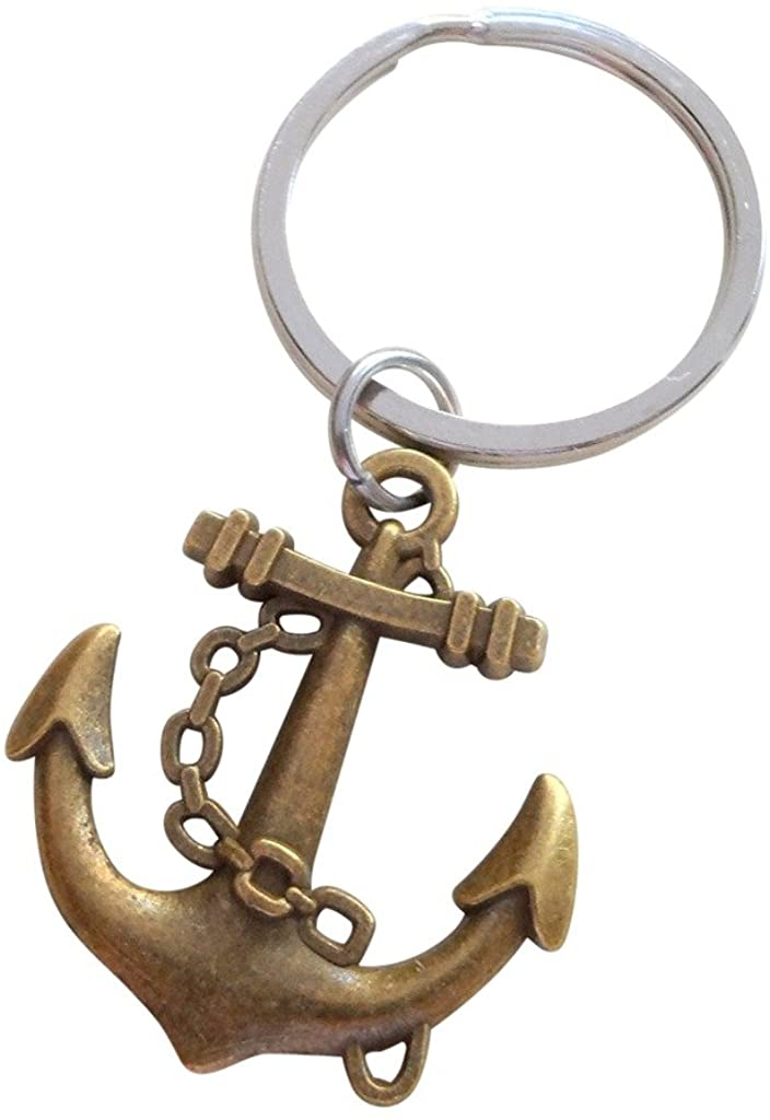 Large Bronze Anchor Keychain - You're The Anchor In My Life