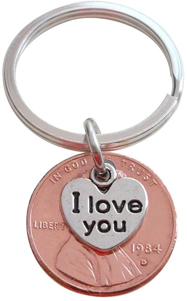 I Love You Heart Charm Layered Over 1984 Penny Keychain; 37 Year Anniversary Gift, Couples Keychain