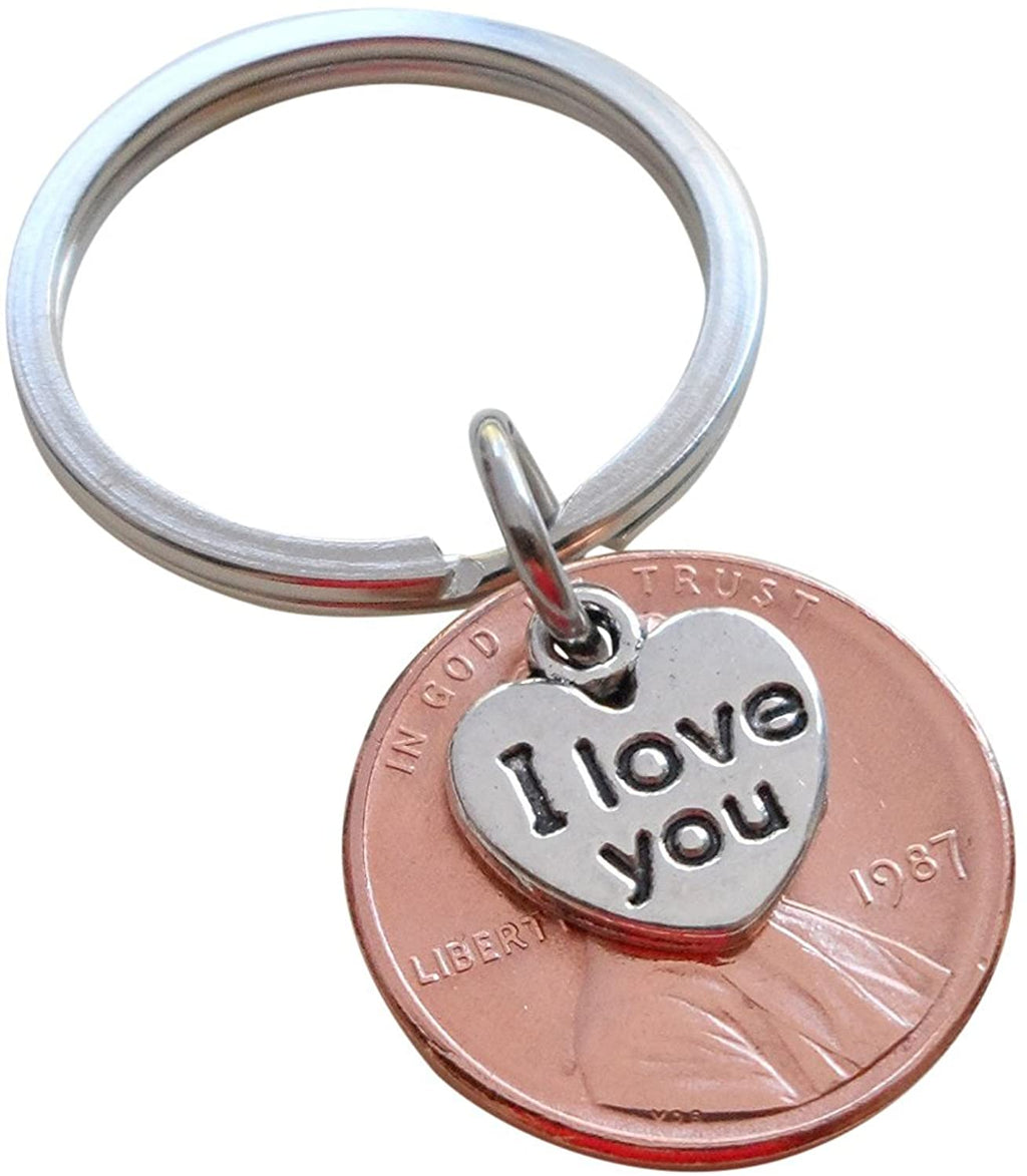I Love You Heart Charm Layered Over 1987 Penny Keychain; 33 Year Anniversary Gift, Couples Keychain