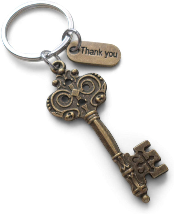 "Employee Appreciation Gifts • ""Thank You"" Tag & Bronze Key Keychain by JewelryEveryday w/ ""You are a key part of our team!"" Card"