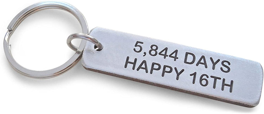 "Aluminum Tag Keychain Engraved with ""5,844 Days, Happy 16th""; 16 Year Anniversary Gift"