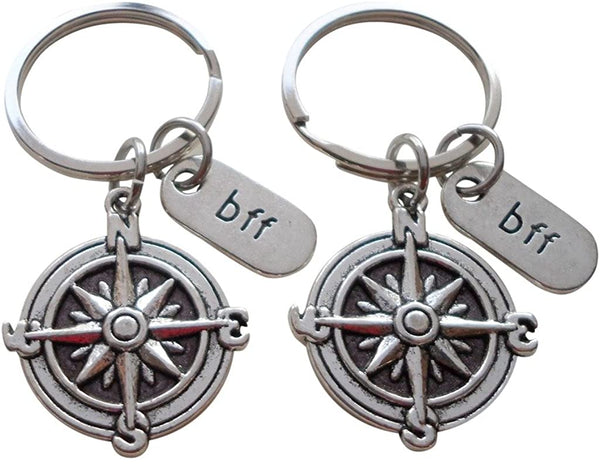 Double BFF Compass Keychains - I'd Be Lost Without You; Best Friends Keychain Gift