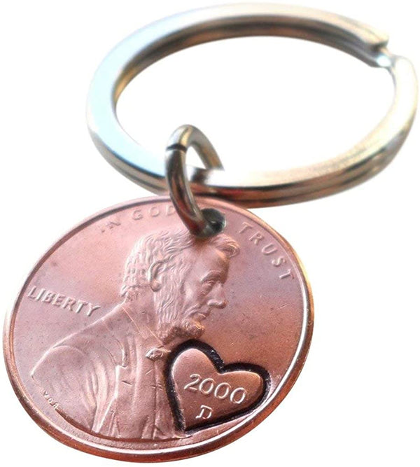 2000 Penny Keychains with Engraved Heart Around Year; 21 Year Anniversary Gift, Couples Keychain