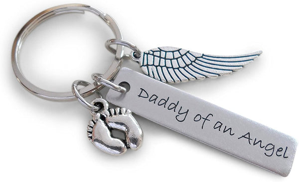 "Baby Memorial Keychain • Engraved ""Daddy of an Angel"" w/ Baby Feet & Wings Charm 