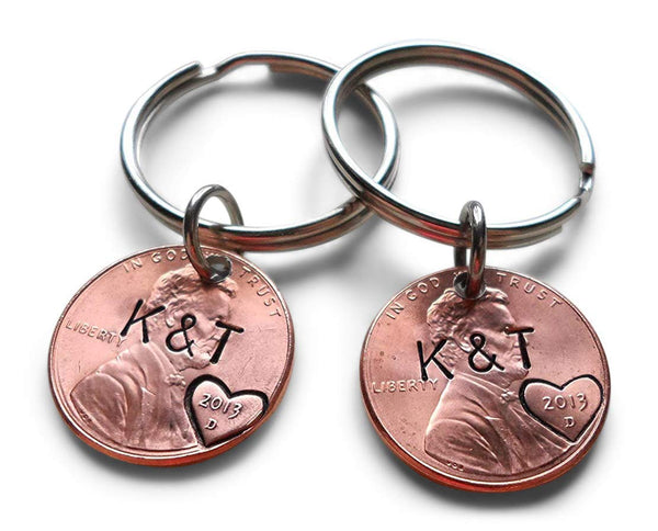 Anniversary Gift • Personalized Double Penny Keychain Set Hand Stamped w/ Custom Initials & Heart Around The Year w/ Options for Adding a Date