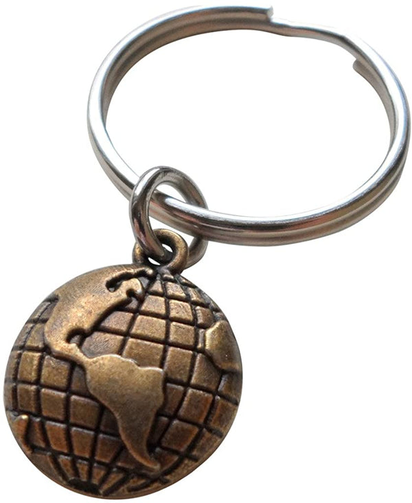 Bronze World Globe Keychain - You Mean The World To Me; 8 Year Anniversary Gift, Couples Keychain