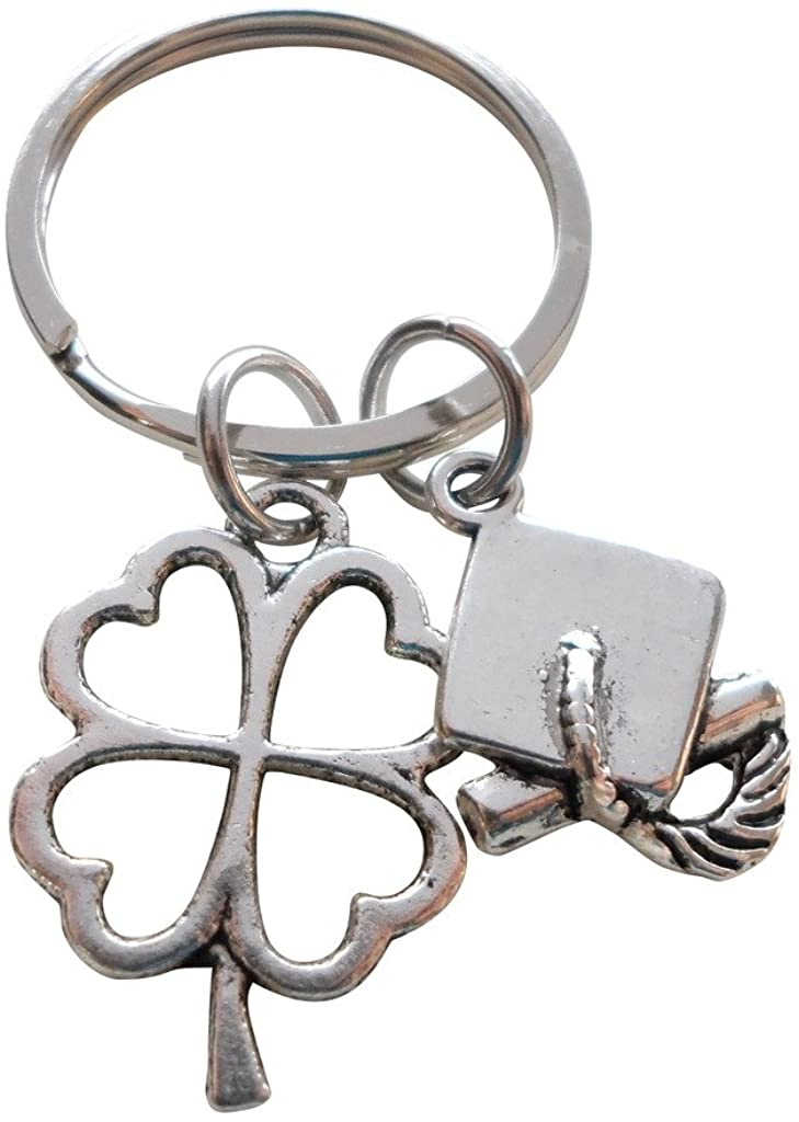 Clover Charm with Cap and Diploma Charm Graduation Keychain - Good Luck to the New Graduate; Graduation Gift