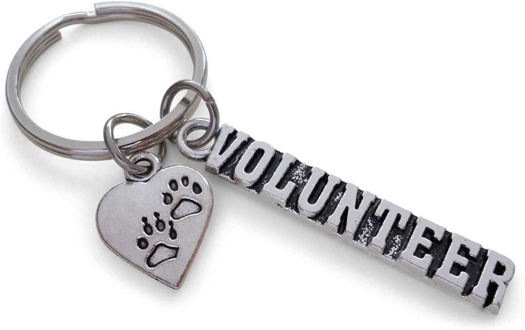 Animal Shelter Volunteer Appreciation Gift Keychain with Heart Paw Charm, Animal Rescue Volunteer Gift, Humane Society Volunteer, Thank You Gift